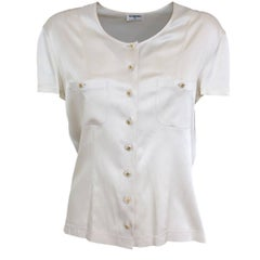 Chanel White Cream Silk Shirt