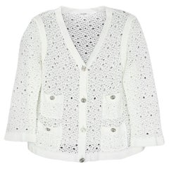 Chanel White Crochet Button down Jacket w/ 4 Pockets sz L