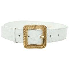 Chanel White Crocodile Belt