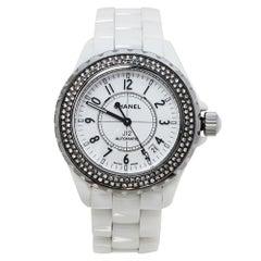 Chanel White Diamonds Ceramic J12 Automatic Women's Wristwatch 39MM