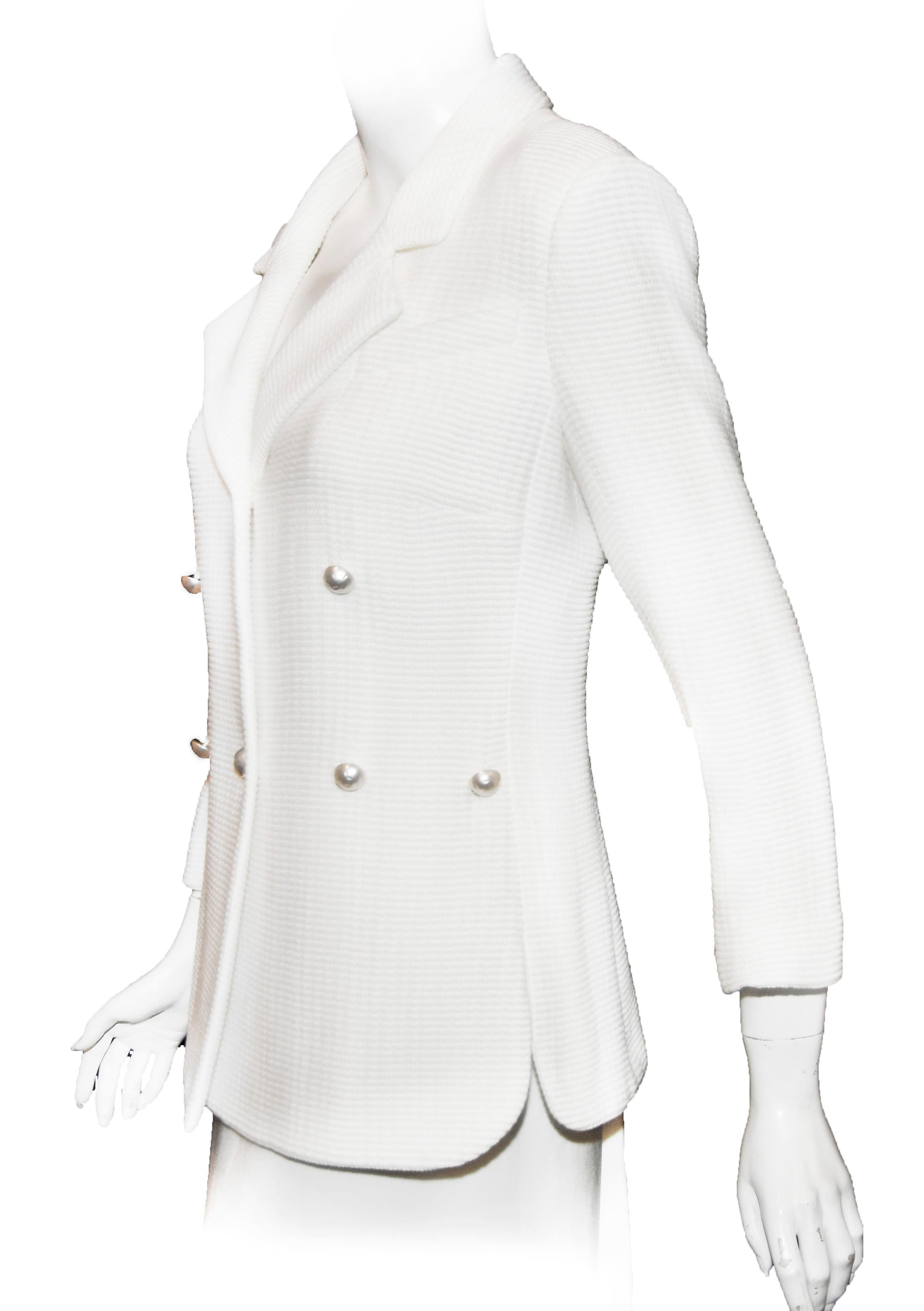 b3de2f1f54e99 Chanel White Double Breasted Waffled Jacket W  Faux Pearl Buttons at 1stdibs