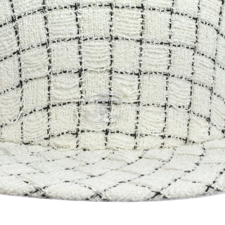 Chanel White Fantasy Tweed Boater Hat L For Sale 5