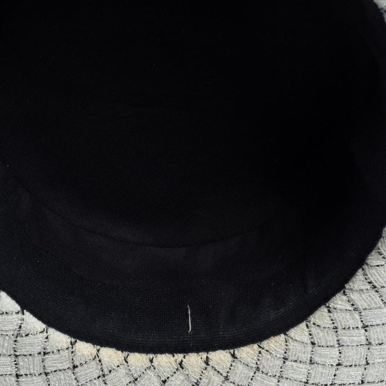 Chanel White Fantasy Tweed Boater Hat L For Sale 6