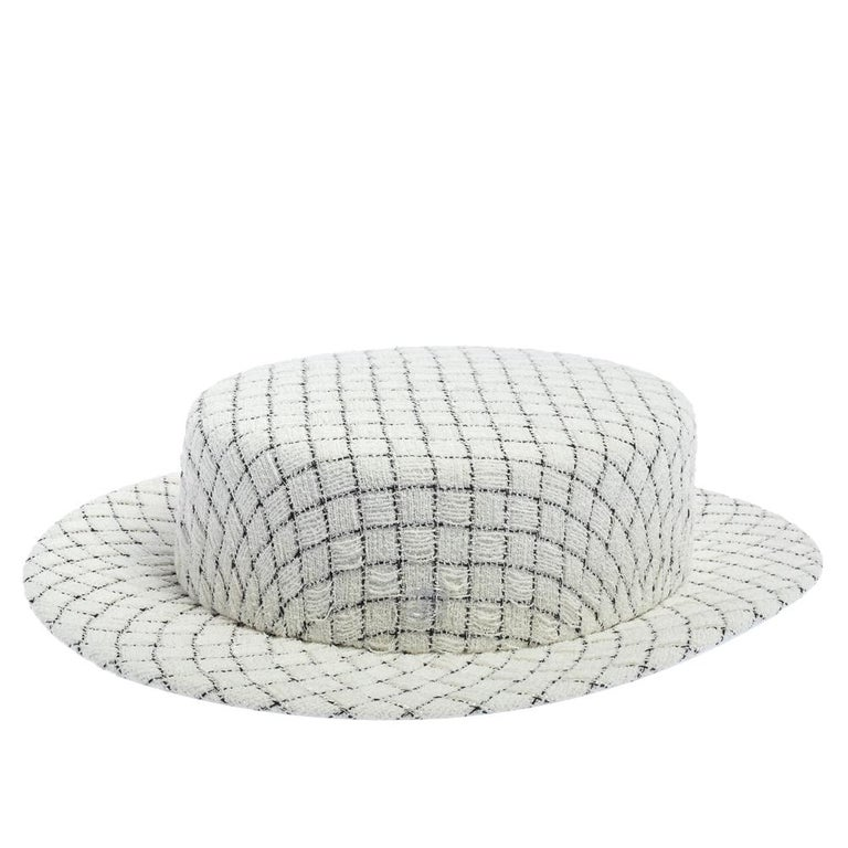 Gray Chanel White Fantasy Tweed Boater Hat L For Sale