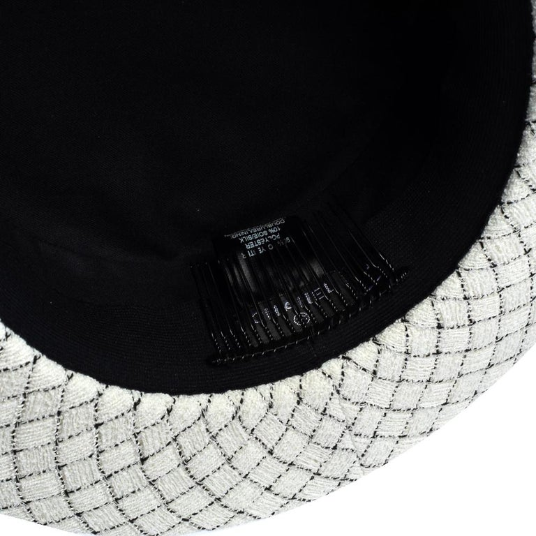 Chanel White Fantasy Tweed Boater Hat L For Sale 2