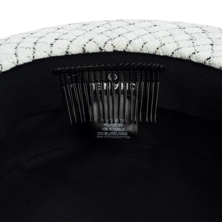 Chanel White Fantasy Tweed Boater Hat L For Sale 3