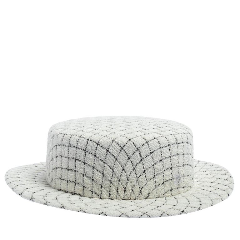 Chanel White Fantasy Tweed Boater Hat L For Sale 4