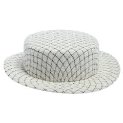 Chanel White Fantasy Tweed Boater Hat L