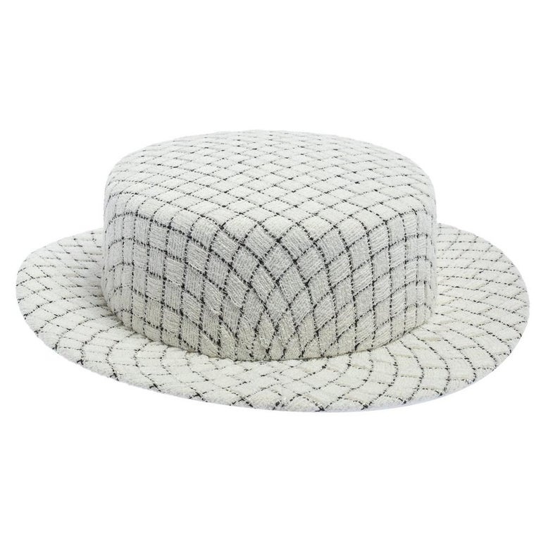 Chanel White Fantasy Tweed Boater Hat L For Sale