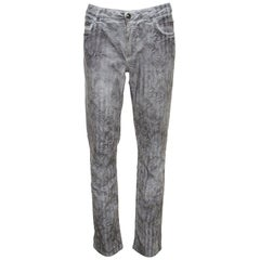 Chanel White Floral Print Slim Fit Jeans L