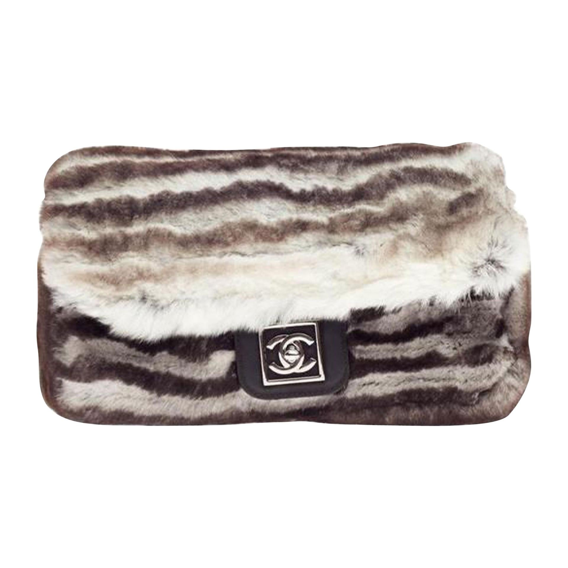 Chanel white grey and brown rabbit fur waist belt flap fanny pack