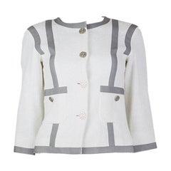 CHANEL white & grey cotton Tweed Collarless Blazer Jacket 34 XXS