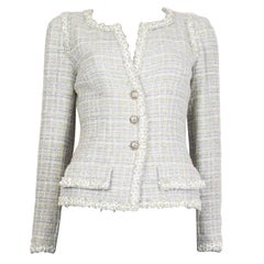 CHANEL white grey lime cotton Tweed Collarless Blazer 38 XS