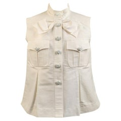 Chanel White GrosGrain Vest Sleeveless Top with Bow Size 36