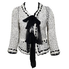 Chanel White Jacket Black Chiffon and Sequins S/S 2005