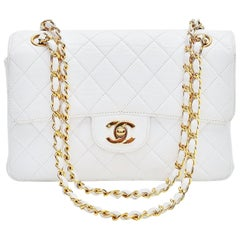 Chanel White Lambskin Double Sided Classic Flap Bag Vintage