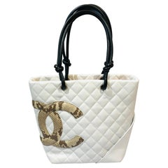 """Chanel White Lambskin Quilted Tote Bag with Embossed Snakeskin """"CC"""" Logo"""
