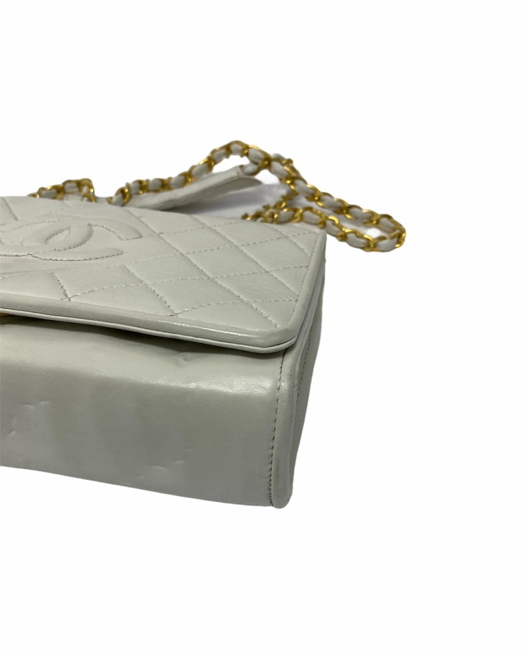 Chanel White Leather Bag For Sale 1
