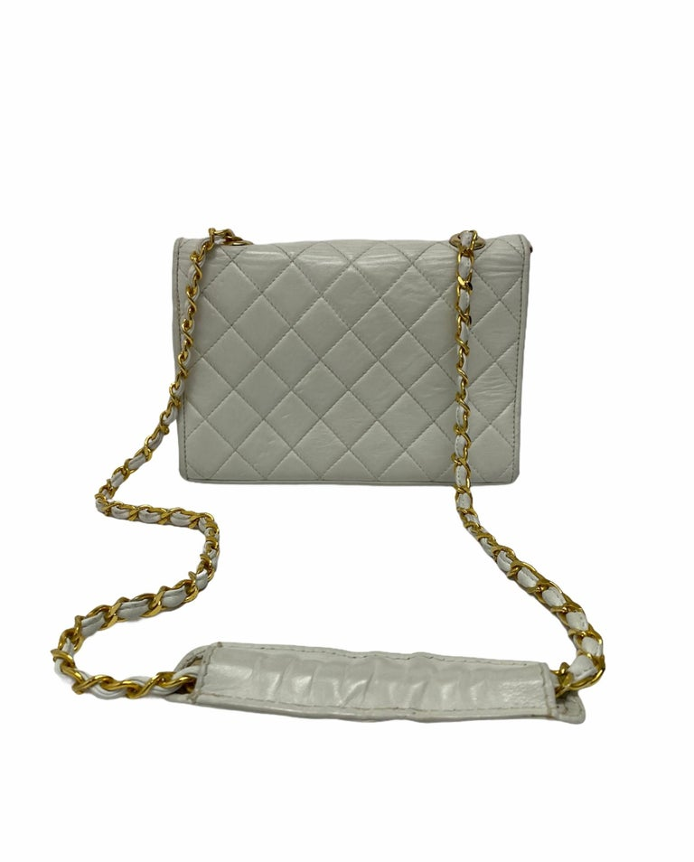 Chanel White Leather Bag For Sale 2