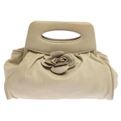 Chanel White Leather Camellia Frame Clutch