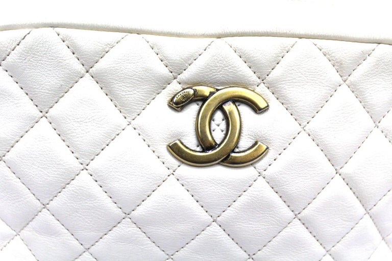 Women's Chanel White Leather Camera Bag For Sale