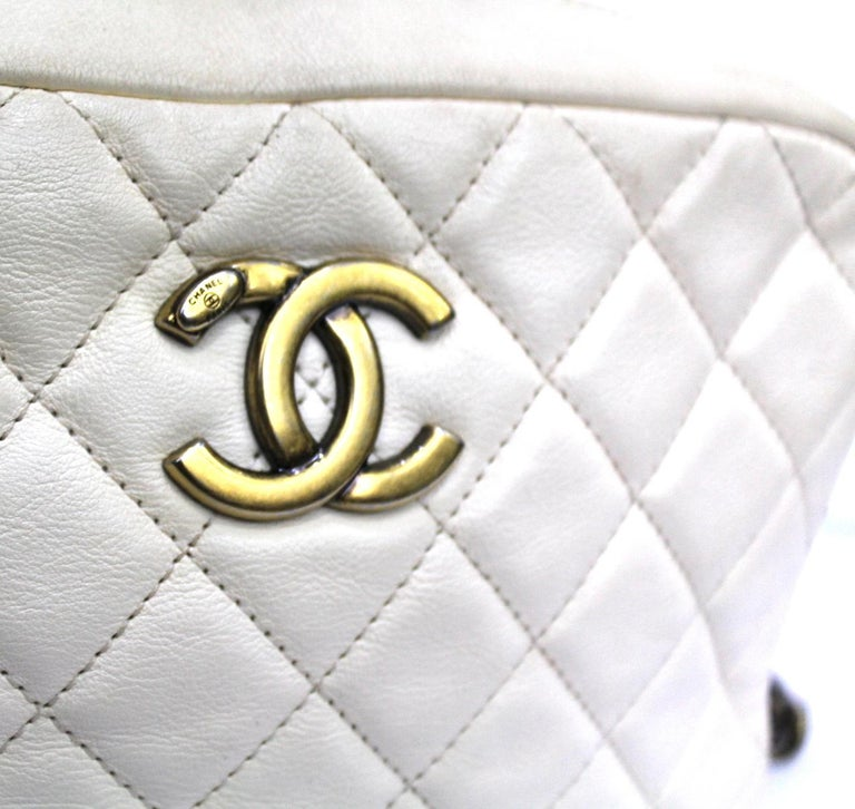 Chanel White Leather Camera Bag For Sale 1