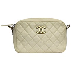 Chanel White Leather Camera Bag