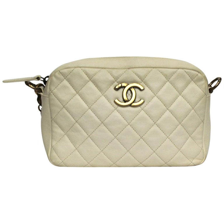 Chanel White Leather Camera Bag For Sale