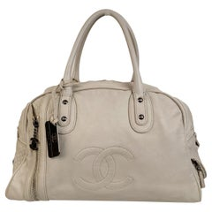 Chanel White Leather CC Logo Bowling Bowler Duffle Bag
