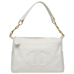 Chanel white leather CC logo shoulder bag