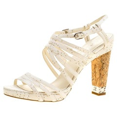 Chanel White Leather Chain Embellished Cork Heel Strappy Sandals Size 41.5