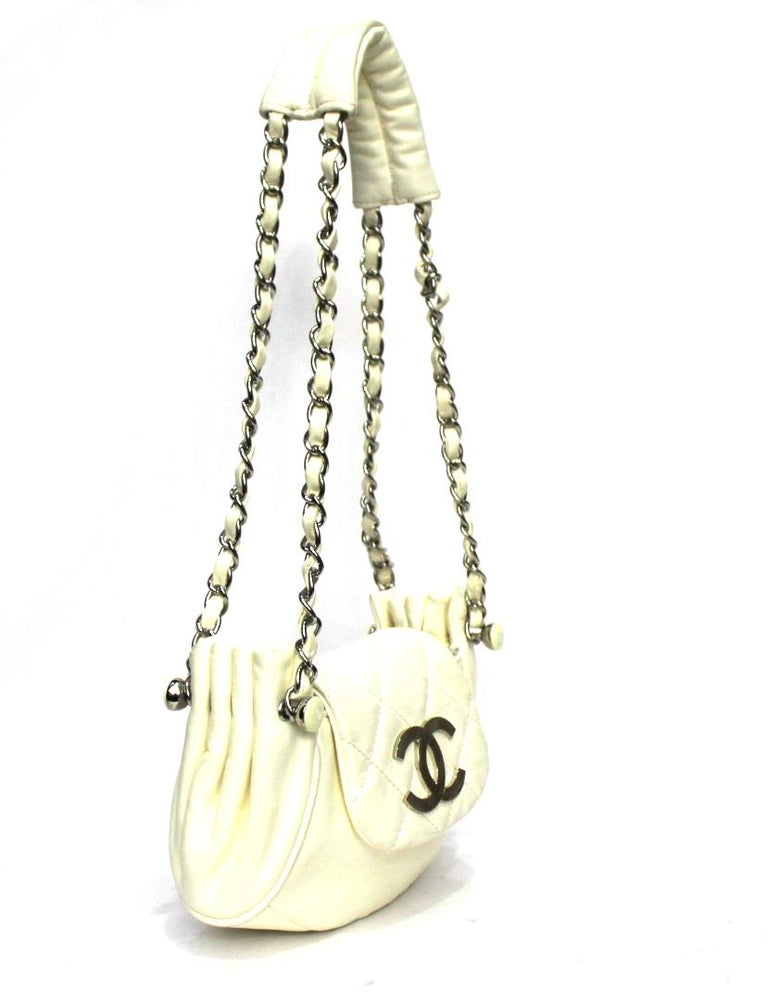 Chanel White Leather Diamond Stitch Shoulder Bag In Excellent Condition For Sale In Torre Del Greco, IT