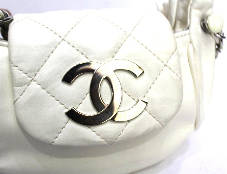 Chanel White Leather Diamond Stitch Shoulder Bag For Sale 1