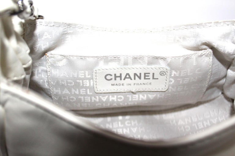 Chanel White Leather Diamond Stitch Shoulder Bag For Sale 2