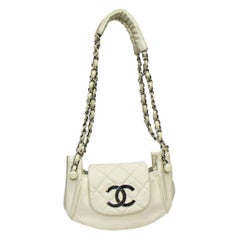 Chanel White Leather Diamond Stitch Shoulder Bag