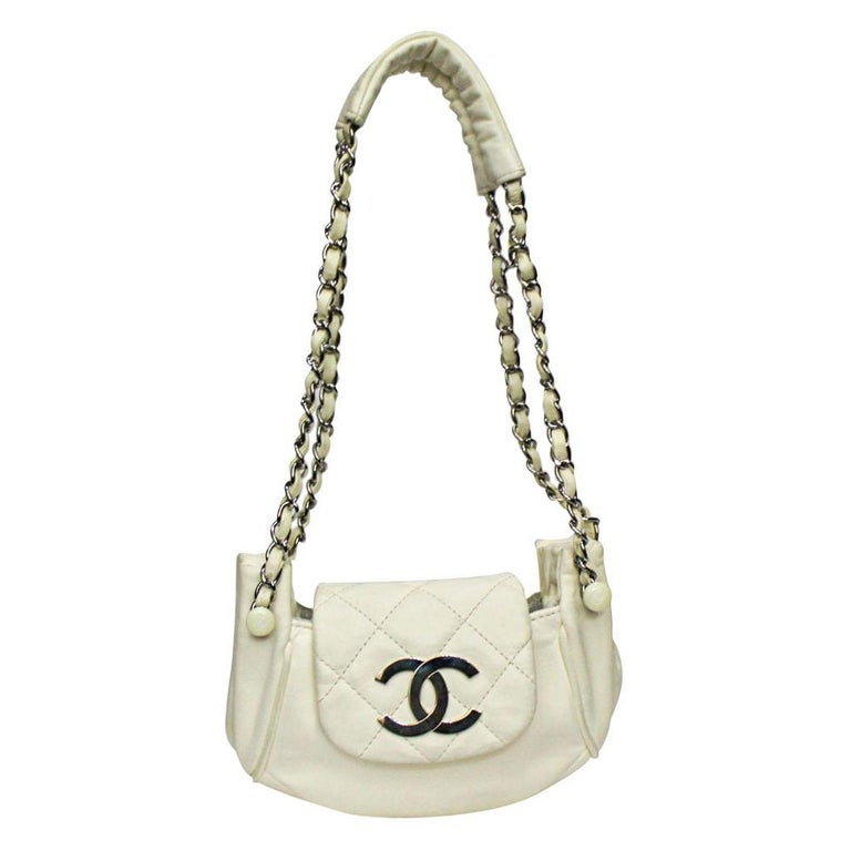 Chanel White Leather Diamond Stitch Shoulder Bag For Sale