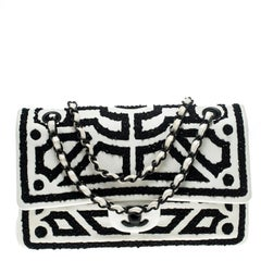 Chanel White Leather Embroidered Medium Classic Double Flap Bag
