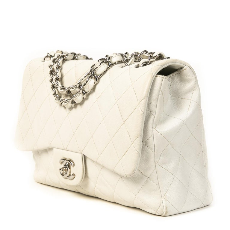 Women's Chanel White Leather Jumbo Classic Single Flap Bag For Sale