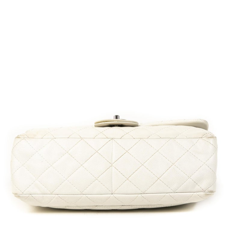 Chanel White Leather Jumbo Classic Single Flap Bag For Sale 1