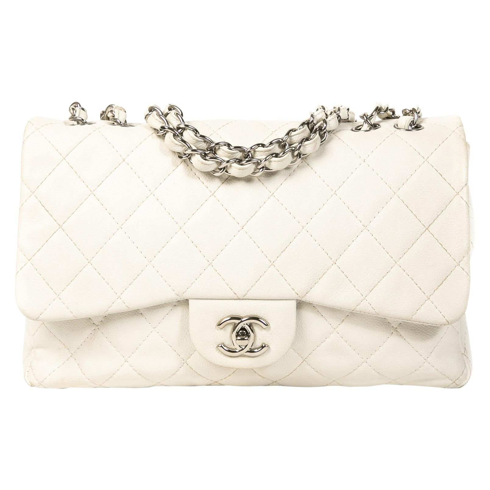 Chanel White Leather Jumbo Classic Single Flap Bag