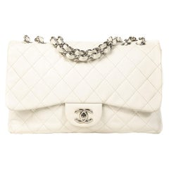 Chanel White Leather Jumbo Classic Single Flap Bag