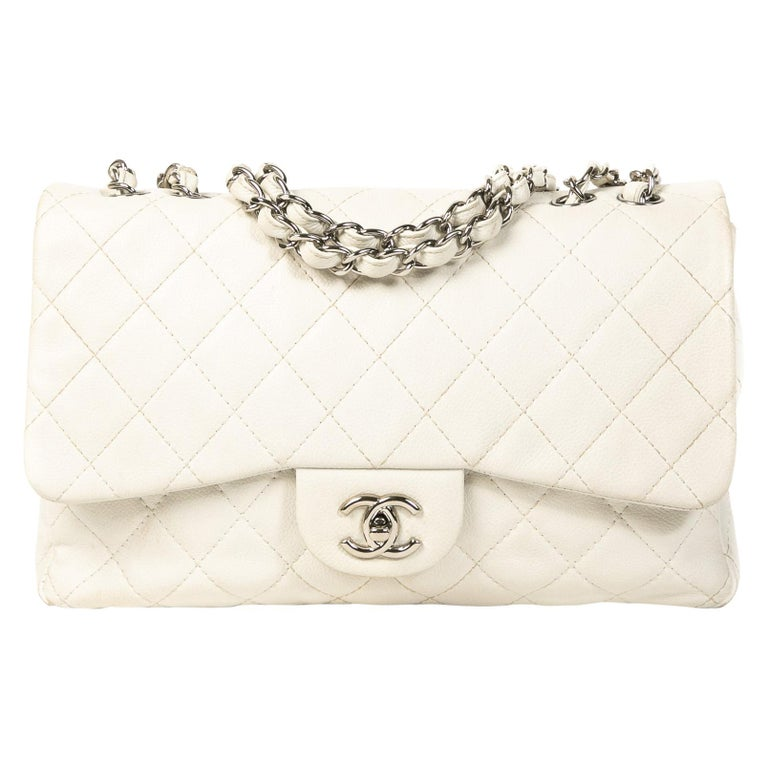 Chanel White Leather Jumbo Classic Single Flap Bag For Sale