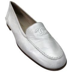 "Chanel White Leather Loafers w/ ""CC"" Stitching-38.5"