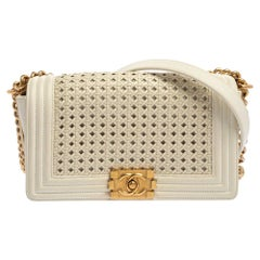 Chanel White Leather Medium Boy Braided Flap Bag