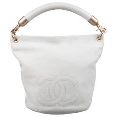 Chanel White Leather Medium CC Handle Bucket Hobo