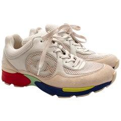 Chanel White Leather & Mesh Multi Coloured Sole CC Sneakers 36