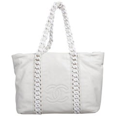 Chanel White Leather Modern Chain Rhodoid Tote