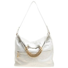 Chanel White Leather Shopping Bag