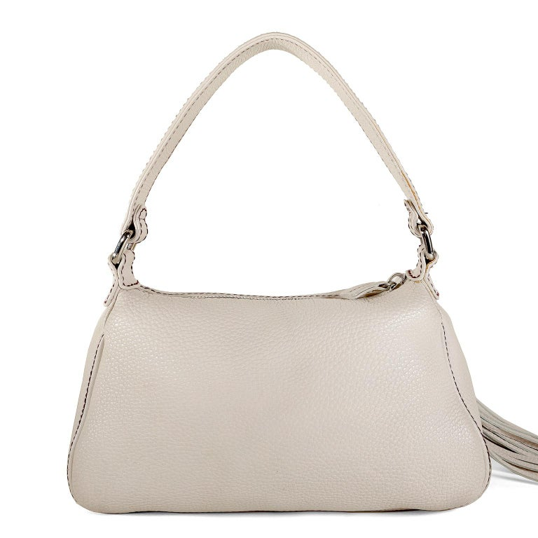 Chanel White Leather Tassel Shoulder Bag In Excellent Condition For Sale In Palm Beach, FL