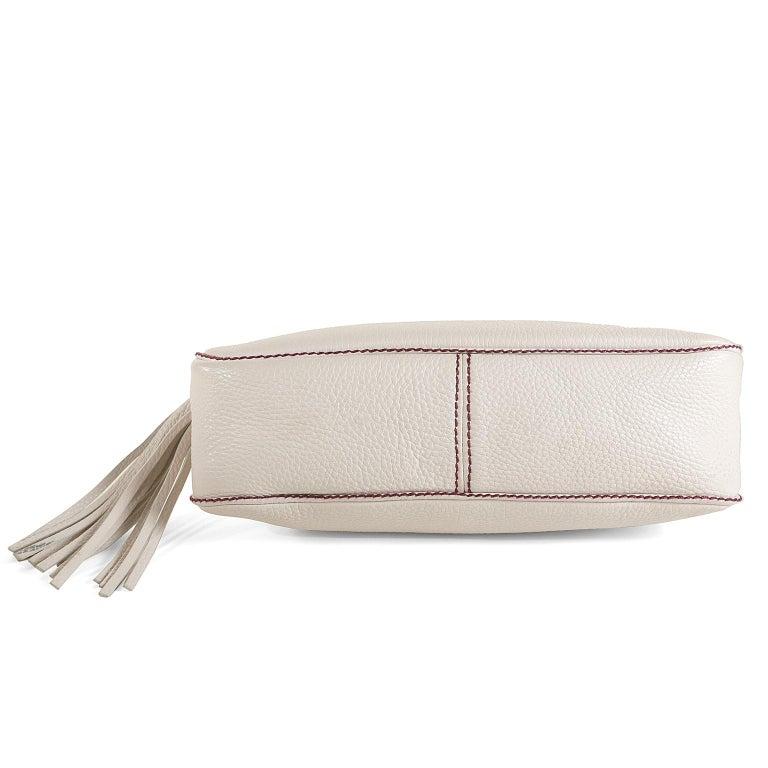 Women's Chanel White Leather Tassel Shoulder Bag For Sale